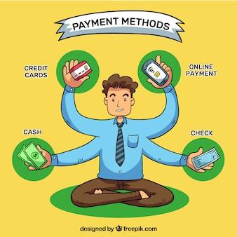 Uomo disegnato a mano con i metodi di pagamento