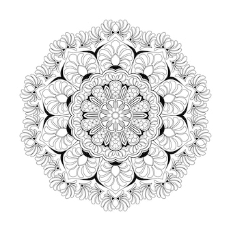 Hand drawn mandala art coloring book page for kids and adult premium vector, seamless pattern