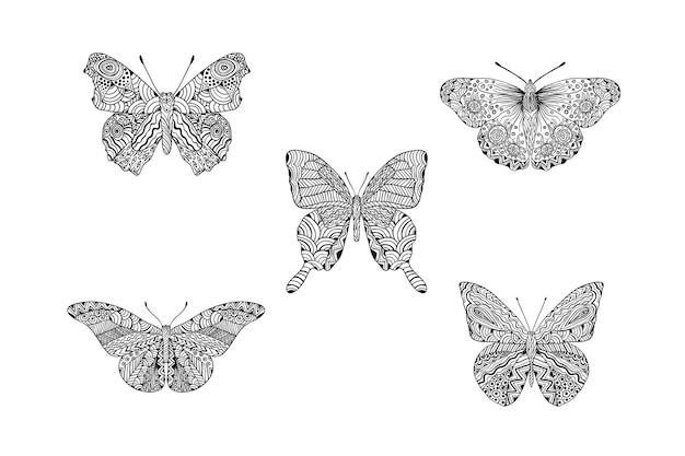 手描きの曼荼羅蝶セット