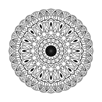 Hand drawn mandala coloring book page for kids and adult premium vector, seamless pattern design