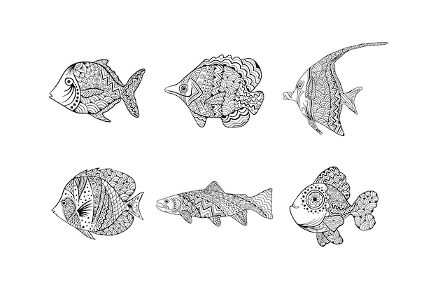 手描き曼荼羅魚セット