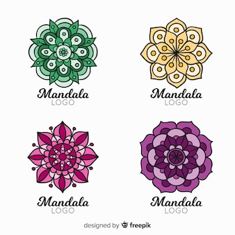 Hand drawn mandala logo collection