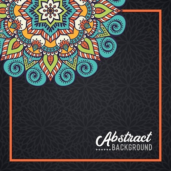 Hand-drawn mandala on the watercolor background