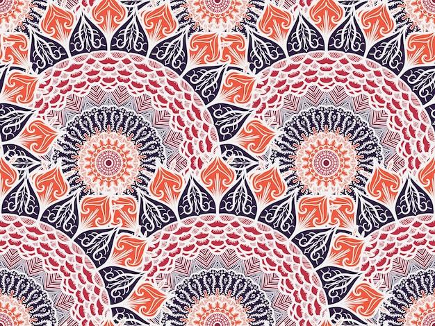 手描きの曼荼羅シームレスパターン。アラビア語、インド語、トルコ語、オスマン帝国の文化装飾スタイル。民族の装飾的な背景。グリーティング、カード、プリント、布、タトゥーの魔法のヴィンテージテンプレート。ベクター