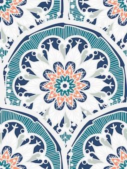 手描きのマンダラシームレスパターン。アラビア語、インド語、トルコ語、オットマン文化の装飾スタイル。民族の装飾的な背景。挨拶、カード、プリント、布、タトゥーの魔法のヴィンテージテンプレート。ベクター