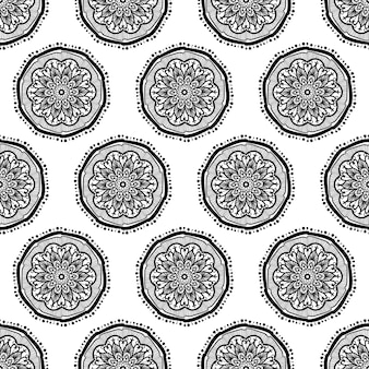 Hand drawn mandala seamless pattern. arabic, indian, turkish and ottoman culture decoratio