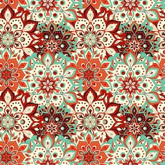 손으로 그린 된 만다라 원활한 패턴