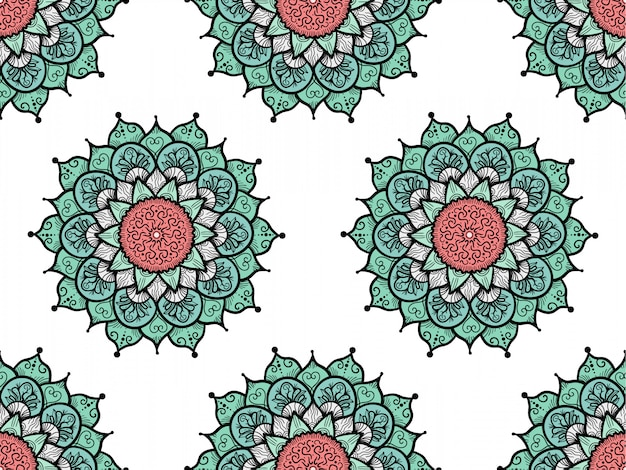 Hand drawn mandala seamless pattern
