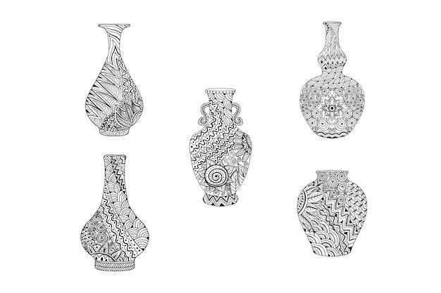 手描き曼荼羅花瓶セット