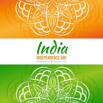 Hand drawn mandalas background of india independence day