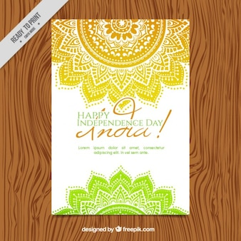 Hand drawn mandalas india independence day invitation