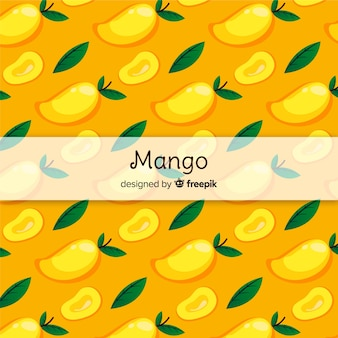 Hand drawn mango and leaves pattern
