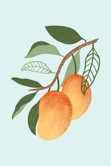 Рука нарисованные манго