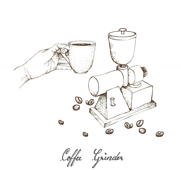 Hand drawn of manual coffee grinder with coffee