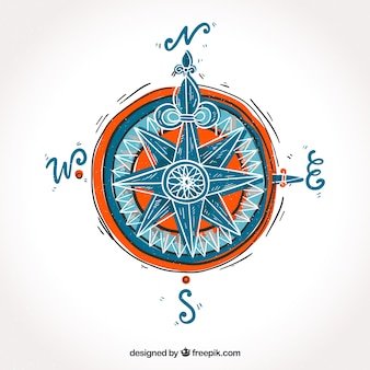 Hand drawn map compass background