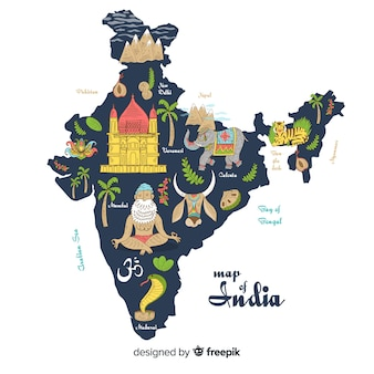 Hand drawn map of india