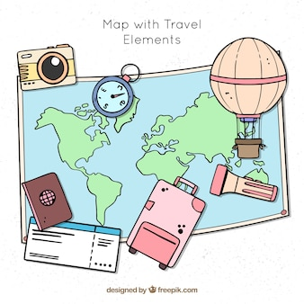 Hand drawn map with travel elements