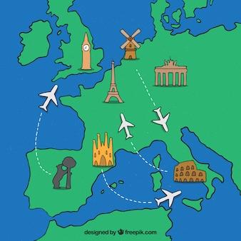 旅行の要素が描かれた手描きの地図