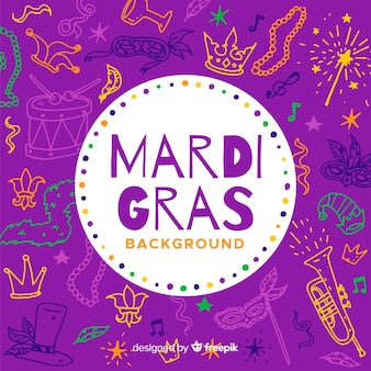 Hand drawn mardi gras background