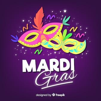 Hand drawn mardi gras carnival background