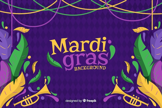 Hand drawn mardi gras carnival background