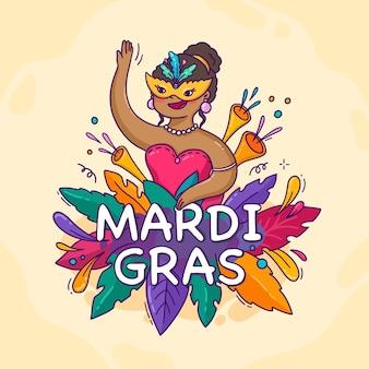 Hand drawn mardi gras carnival