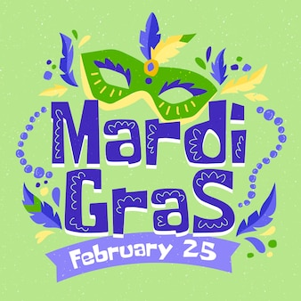 Hand-drawn mardi gras celebration