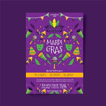 Hand drawn mardi gras colorful flyer template