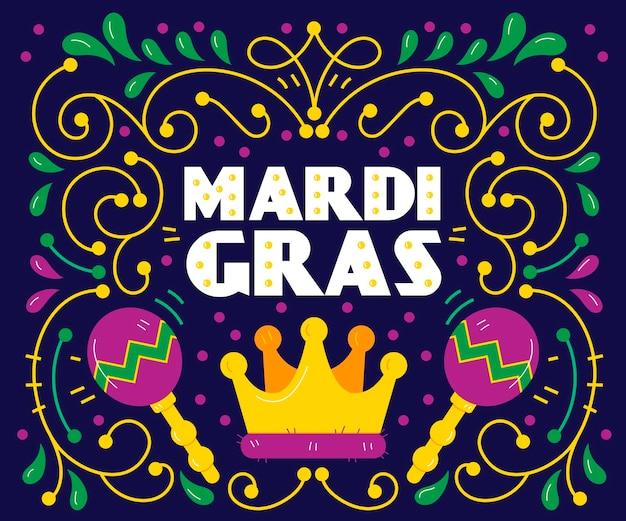Hand drawn mardi gras concept