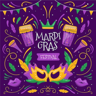 Hand drawn mardi gras elements