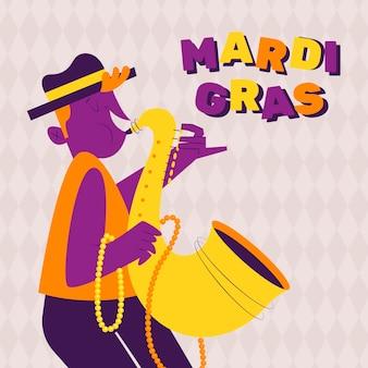 Hand drawn mardi gras festival with illustration