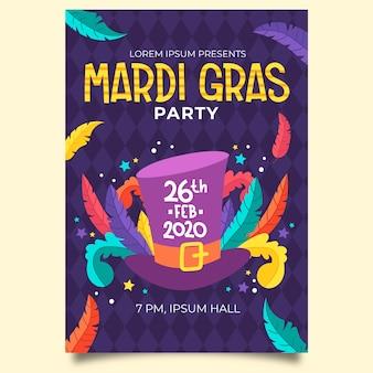 Hand drawn mardi gras flyer template