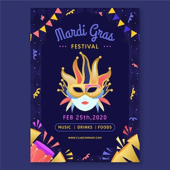 Hand drawn mardi gras flyer template
