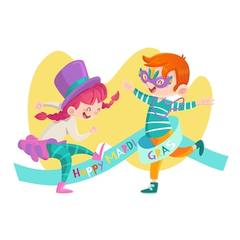 Hand drawn mardi gras illustration with kids