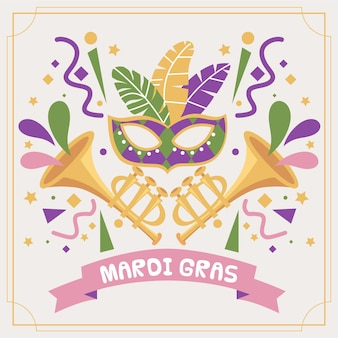손으로 그린 된 마디 그라 마스크