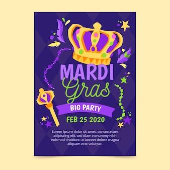 Hand-drawn mardi gras poster template