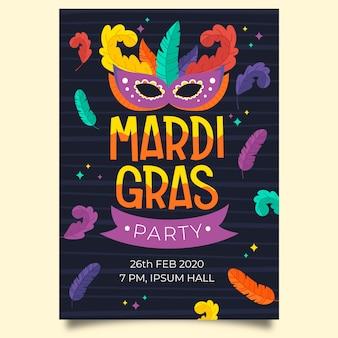 Hand drawn mardi gras poster template