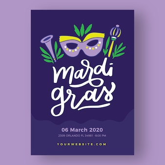 Hand drawn mardi gras poster template