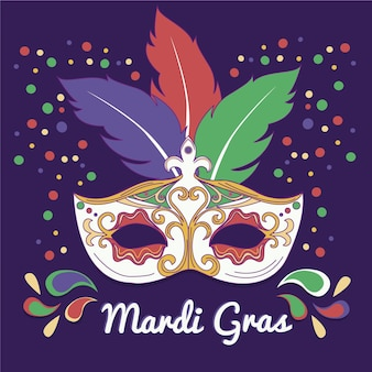 Hand drawn mardi gras text with mask illustrated