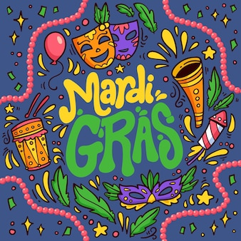 Hand drawn mardi gras text