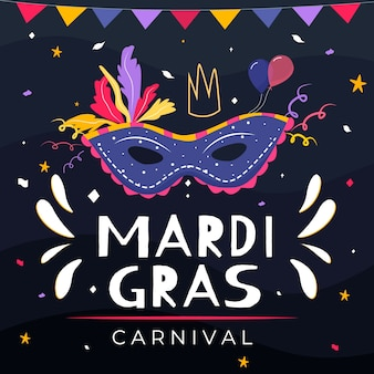 Hand drawn mardi gras with mask and garlands