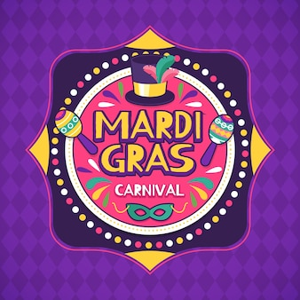 Hand drawn mardi gras with musical instruments and arrow