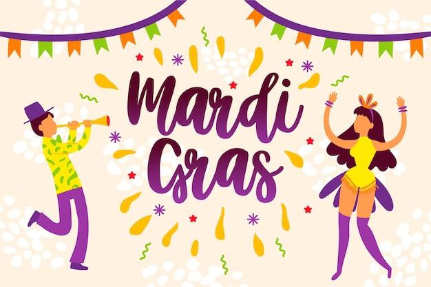 Hand drawn mardi gras