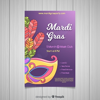 Hand drawn mardi grass poster