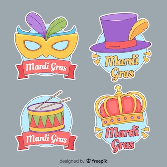 Hand drawn mardi grass stickers