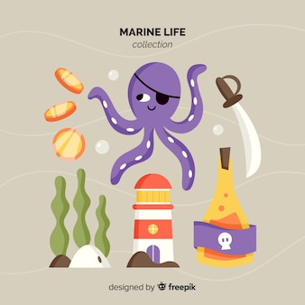 Hand drawn marine character pack