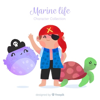 Hand drawn marine characters collection