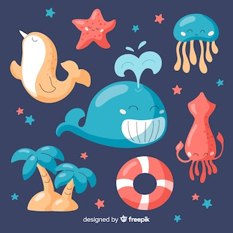 Hand drawn marine life character collection