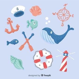 Hand drawn marine life elements pack