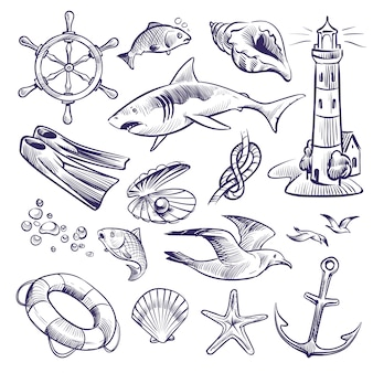 Hand drawn marine set. sea ocean voyage lighthouse shark knot shell lifebuoy seagull anchor steering wheel